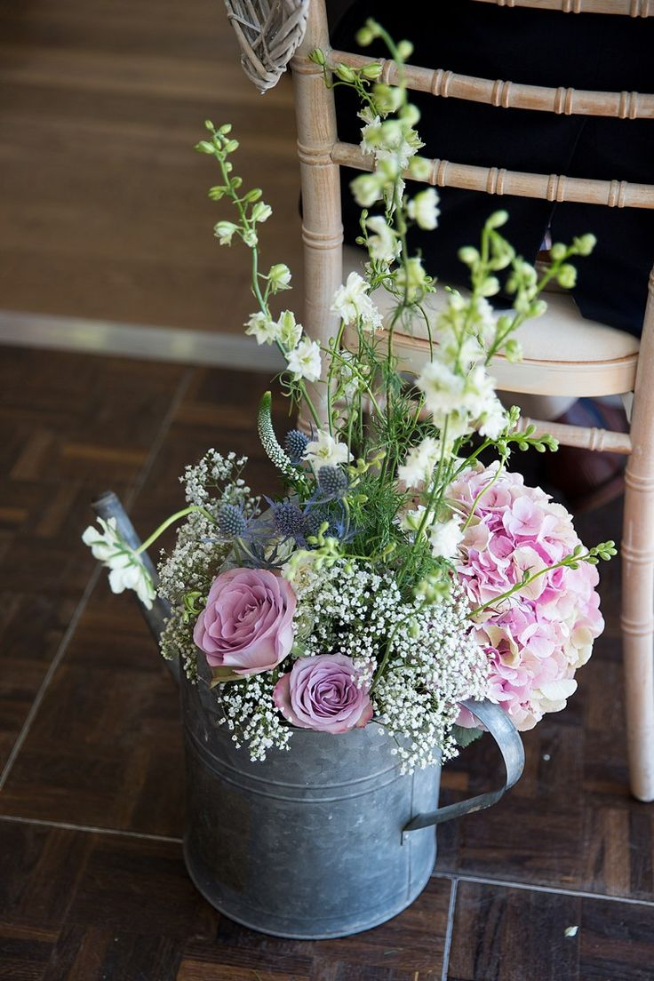 Watering Can Flowers Hydrangea Pink White Roses Thistle Pastel Country Garden Wedding http://www.katherineashdown.co.uk/