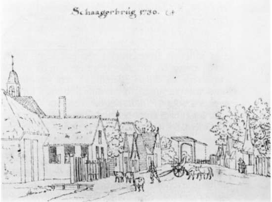 1730 drawing of the centre of Schagerbrug, which for much of the 1799 Helder campaign was the Allied army's HQ (although the British spelled it, without exception, either Schagenbrug or Schagen Brug).