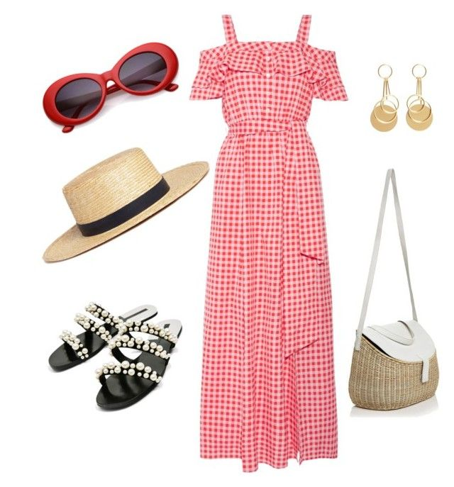 """""""Vacation in style"""" by nashwynter on Polyvore featuring Janessa Leone, MANGO, Draper James, Parlor, Zacarias, inspo, gingham and ss17"""