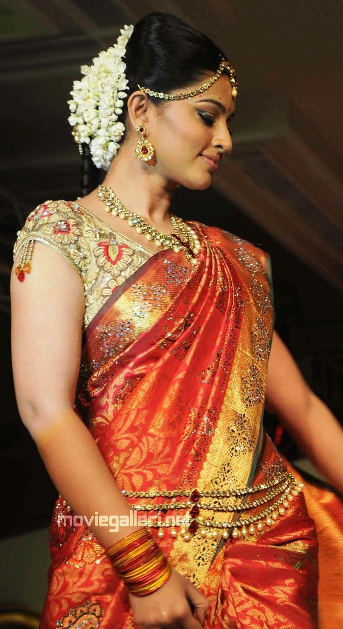 florals in hair.  South Indian bride, South Indian Kanjeevaram Silk Saree & Bridal Jewelry
