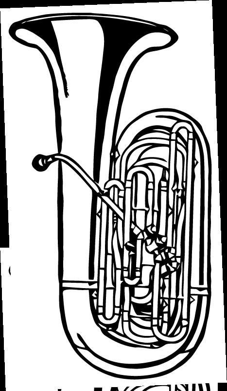 Tuba coloring pages ~ Free Vector Art: Tuba   Free vector art, Vector free, Tuba ...