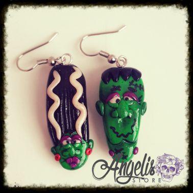 Handmade Polymer Clay Frankenstein and Bride Earrings