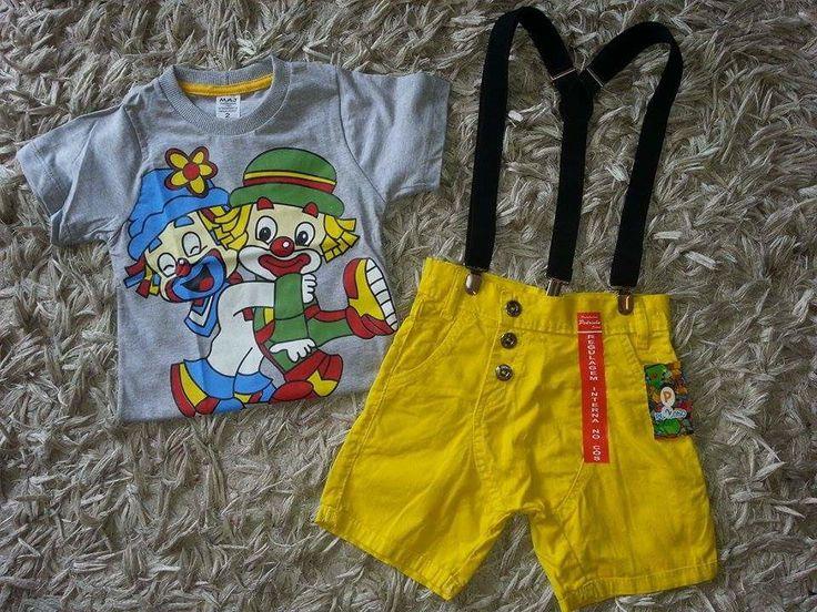 Conjunto Patati Patata Com Suspensório  Tamanho do 1 ao 4 anos    Camiseta de Algodão  Bermuda de Sarja  Confecção normal  Não temos as medidas das peças