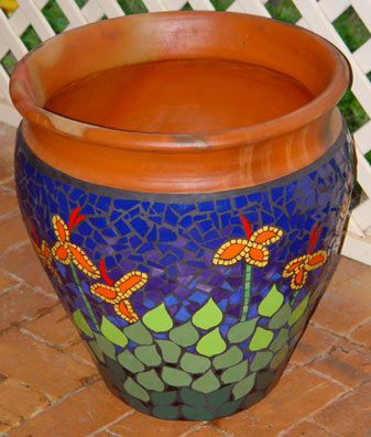 Inspired by flowering canna lillies in my backyard mosaic pot in ceramic tiles by Brett Campbell Mosaics