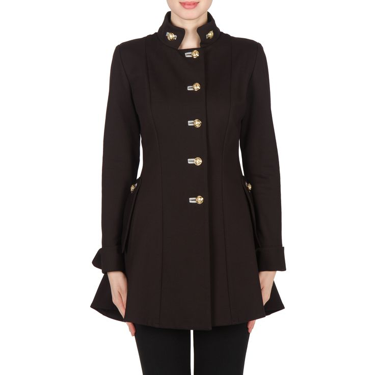 Joseph Ribkoff Jacket Black / Grey 173308 is iconic is a single breasted military style with detailed goldtone button fastening, front pockets, lengthy hemline and stiff collar. Constructed in a heavy duty scuba fabric with full sleeves and tailored fit.
