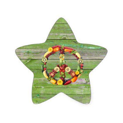 Vegan Peace Green Wall Wood Star Sticker - vegan personalize diy customize unique