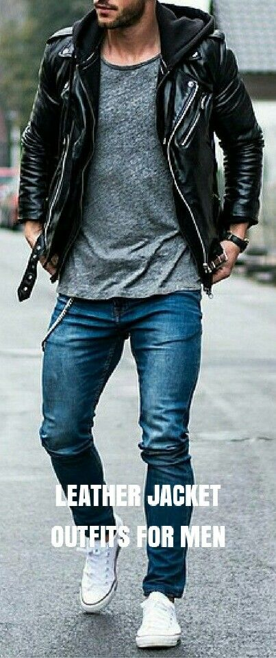 How to wear LEATHER jacket on the street. LEATHER jacket OUTFIT ideas.