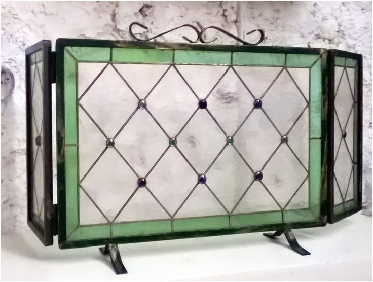 Tiffany, arrestor for fireplace, glass from Artistic Wrought iron by DaWanda.com