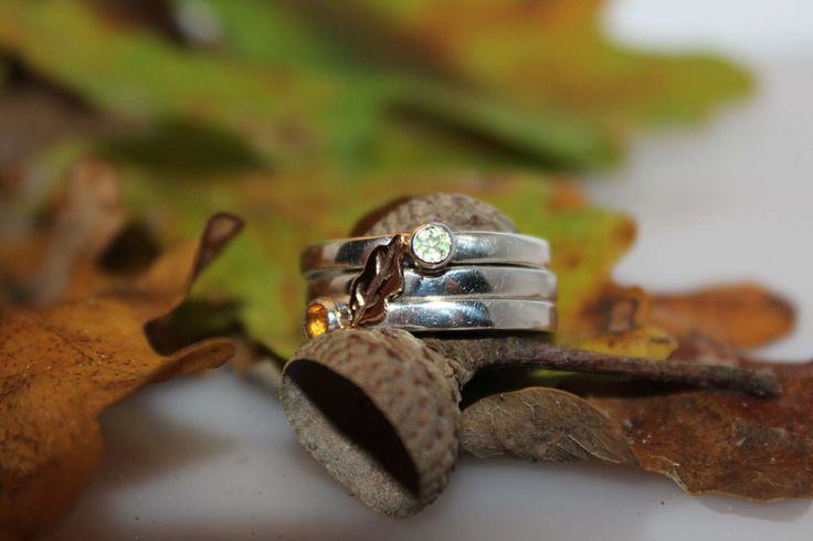 Stapelring met goud en half edelstenen, handgemaakte set herfst ringen door lafincreaties op Etsy