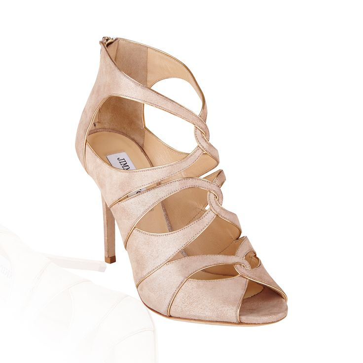 Jimmy Choo Leash Shimmer Suede Sandal Sand/Light Gold - These gorgeous sandals are the perfect option for that special occasion or simply a night out.