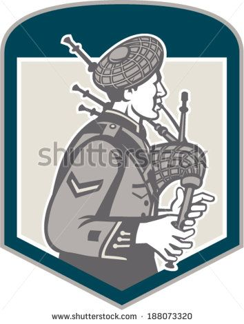 Illustration of a Scotsman bagpiper playing bagpipes viewed from side set inside shield crest on isolated background done in retro woodcut style. - stock vector #Scotsman #retro #illustration