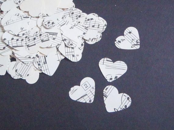 note vintage coriandoli cuori musica spartiti di LaSoffittaDiSte