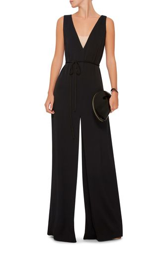 V Neck Black Jumpsuit by Paule Ka | Moda Operandi