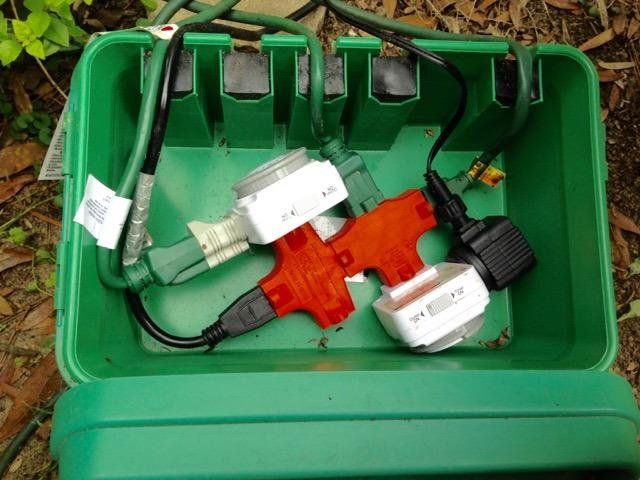 Medium black weatherproof indoor outdoor electrical cord - Sealing exterior electrical boxes ...