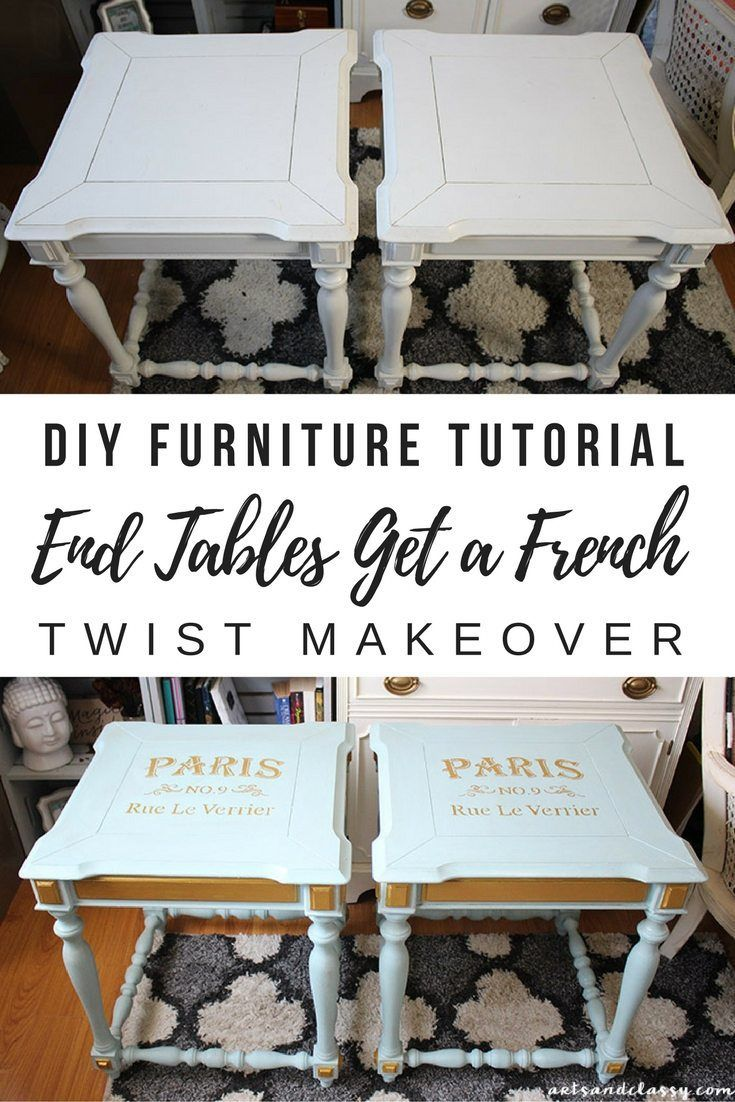DIY Projects - End Tables Get a French Twist Makeover Tutorial | Arts and Classy