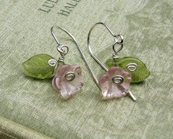 Little Pink Glass Flower and Leaves Earrings  by nicholasandfelice, $ 12.50