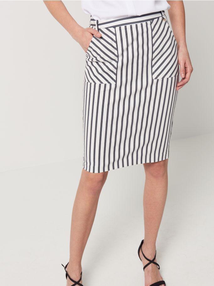 Ołówkowa marynistyczna spódnica w pasy, MOHITO, QQ210-95X