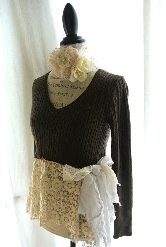 Womens crochet sweater upcycled abercrombie by TrueRebelClothing, $68.00