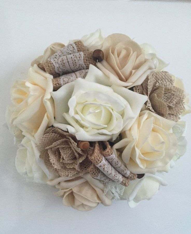 Artificial Hessian Roses Flowers And Lace Rustic Vintage Wedding Bouquet