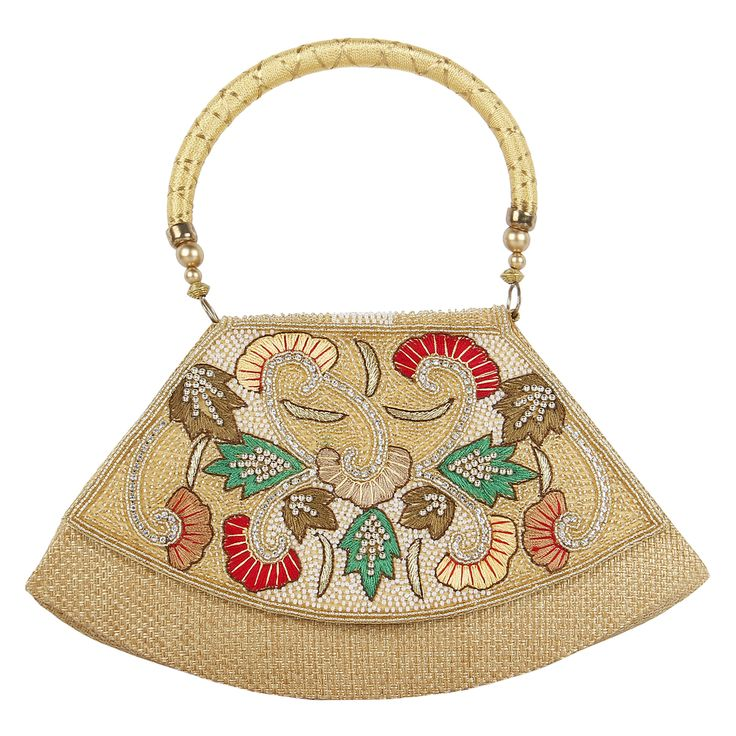 This jute purse carries a beautiful multicolour embroidery of pearls and beads . It looks lovely with beaded string attached . These are handcrafted  products so any imperfections should be taken as normal.Visit www.saashiwear.com