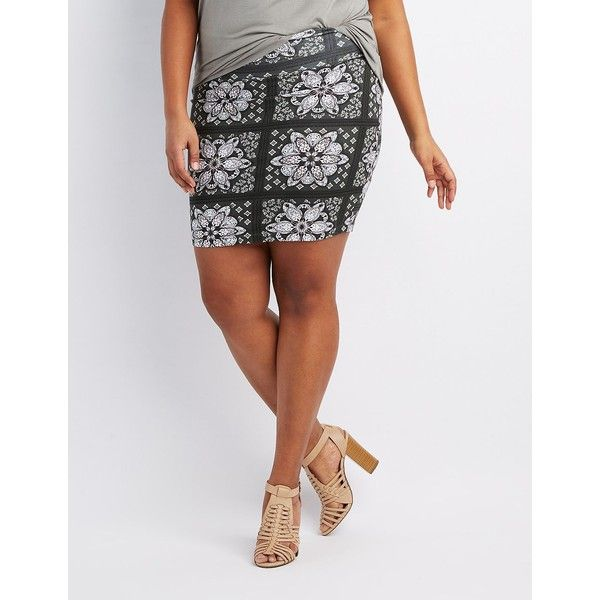 Charlotte Russe Printed Bodycon Mini Skirt ($11) ❤ liked on Polyvore featuring plus size women's fashion, plus size clothing, plus size skirts, plus size mini skirts, olive combo, mini pencil skirt, high waisted mini skirt, stretch pencil skirt, high waisted pencil skirt and sexy mini skirts