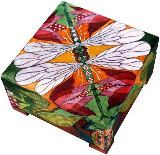 bold, colorful, graphic butterfly and waterlily painted box / chest....LIBELULA