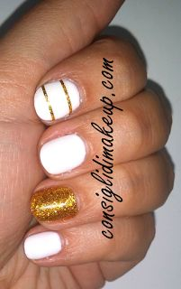 Nail Art White & Gold