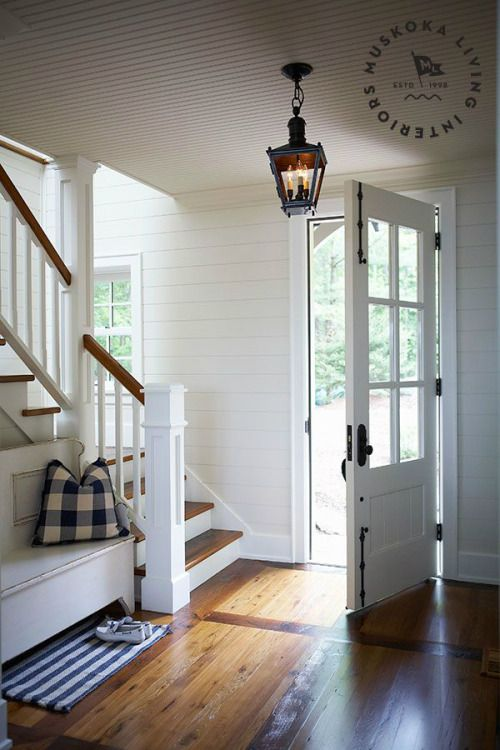 White Farmhouse Style Entryway with Shiplap Walls + Beadboard Ceilings