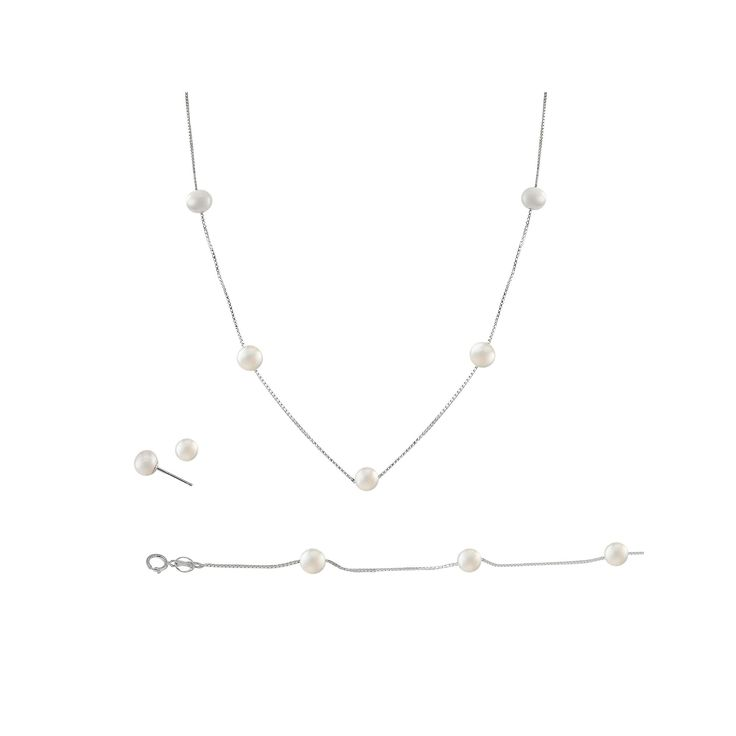 Sterling Silver Freshwater Cultured Pearl Necklace, Bracelet and Earring Set, Women's, White