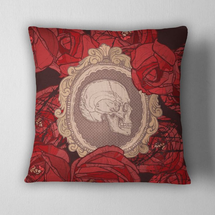 Cameo Skull Red Rose Decorative Throw Pillow