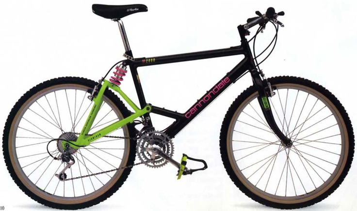 The Cannondale EST is one of the first mountain bikes with rear suspension. Notice that there's no suspension fork. I was in awe when I saw on of this parked at the High School bike parking area.