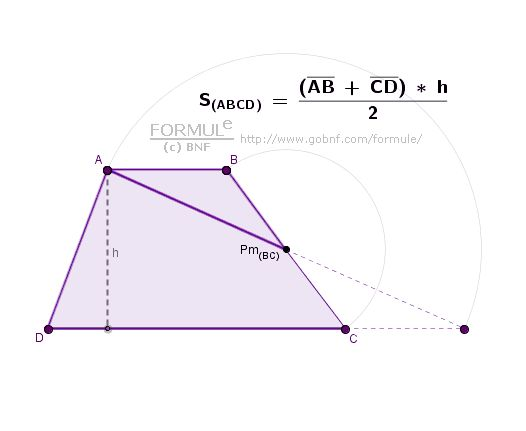 Area of trapezoid ABCD = Area of triangle (with the same height) - Pm(BC) = MidPoint of BC