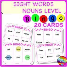 Grade / Year Level :: Primary Education :: Foundation - Year 2 :: POPULAR SIGHT WORDS LISTS NOUNS LEVEL BINGO GAMES CARDS
