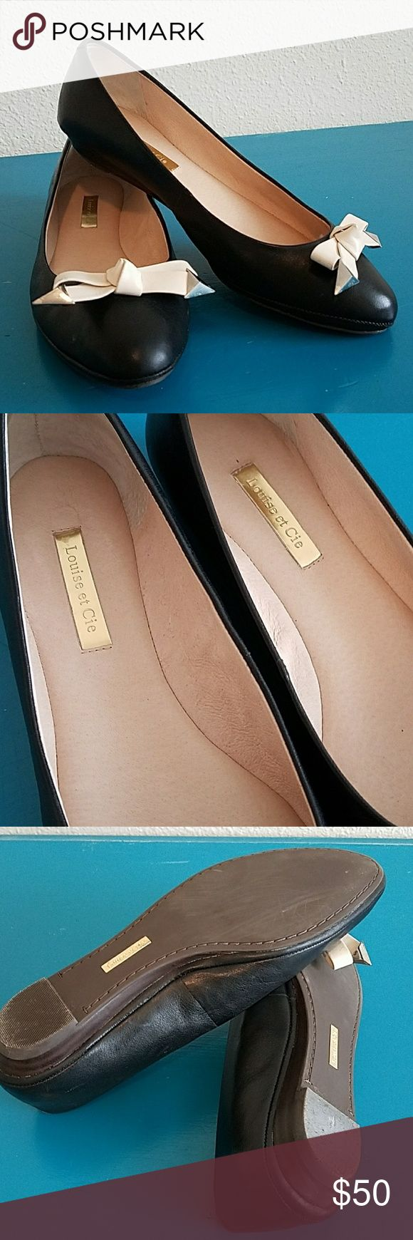 Louise et Cie black leather flats Black Leather flats with white leather bow and silver accents. Normal/ light wear. Make an offer! Louise et Cie Shoes Flats & Loafers