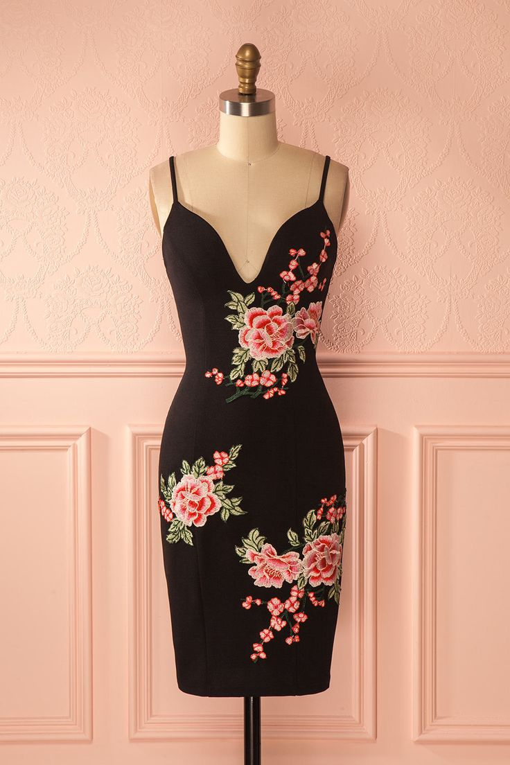 Bansuri - Little black dress with floral embroideries, for when you feel daring and romantic! #valentinesday #littleblackdress