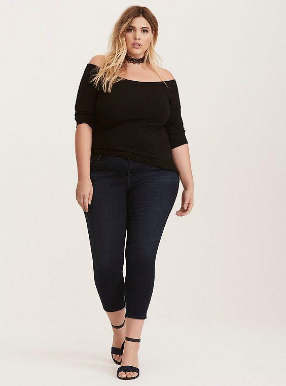 Plus Size Off The Shoulder Bardot Top, DEEP BLACK