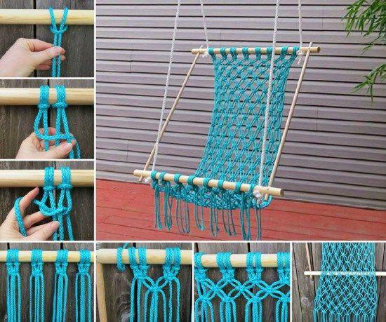 Crocheted Hammock Ideas · Chair SwingHammock ChairHammock SwingCrochet  HammockDiy ...