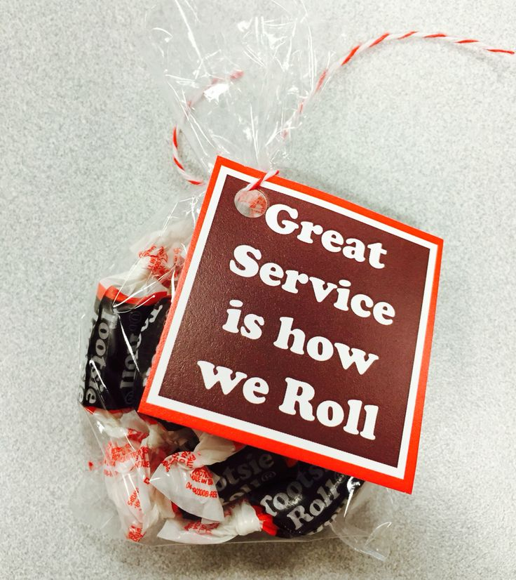 """Great service is how we roll"" customer service week 2015   https://www.etsy.com/listing/456849132/toostie-roll-gift-tag?ref=related_listings"