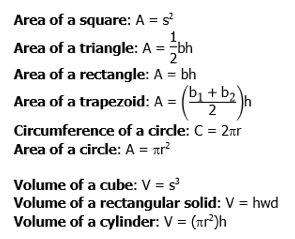 areas-new-praxis math formulas