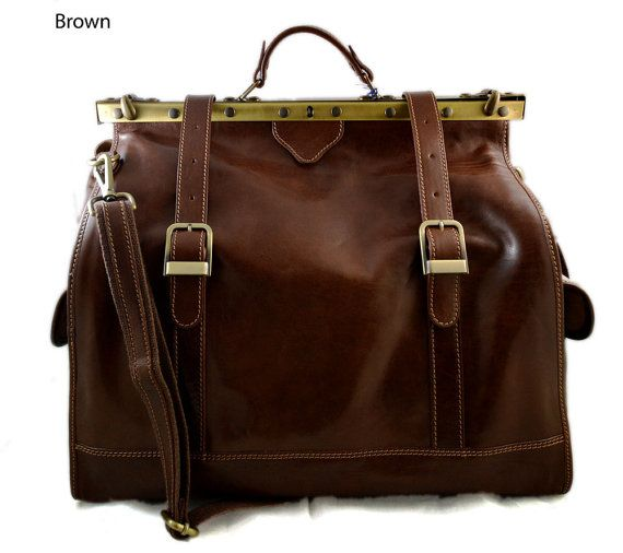 Leather doctor bag mens travel bag womens cabin luggage bag leather shoulder bag medical bag retro bag weekender brown leather carryon Our handbags are manufactured 100% in Italy, handcrafted with the highest quality materials, to create a beautiful and durable product. Genuine
