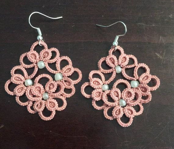 Tatted earrings and pendant set pattern by ValsHappyCrafts on Etsy
