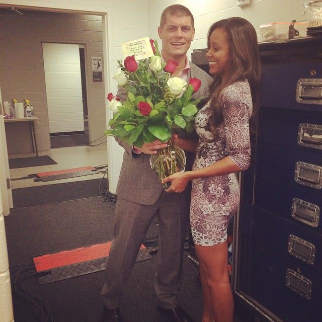 WWE Superstar Cody Rhodes surprising his wife WWE Diva Eden (Brandi Runnels) with roses at work #love #wmbw #bwwm