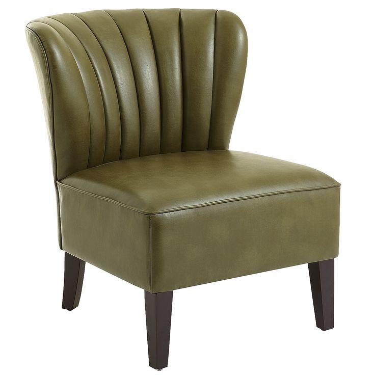 Leather Emille Channel Back Chair   Cedar
