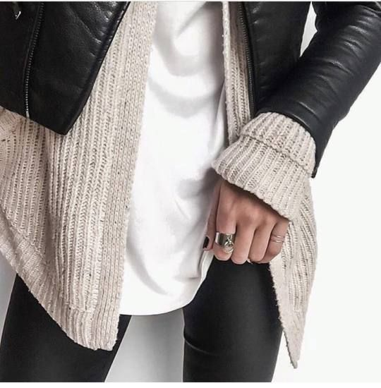 Baggy white shirt, comfy knit  sweater, black leather jacket