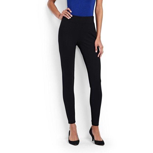 Lands' End Women's Petite Ponté Leggings ($49) ❤ liked on Polyvore featuring pants, leggings, black, lands end pants, petite leggings, petite pants, legging pants and petite trousers