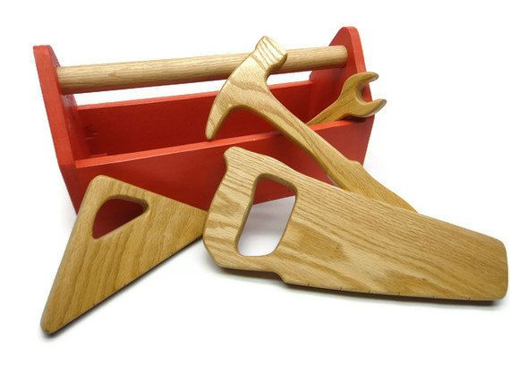 Wooden Kid Tool Box - Wood Toy Tool Box - Natural and Organic Toys for Kids, Toddlers, Children