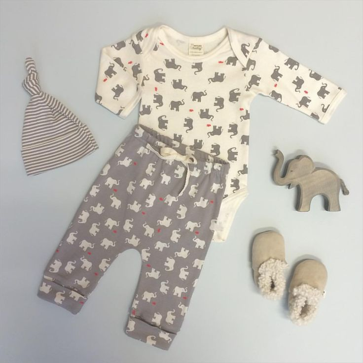 Our beautiful new Elephant & Mouse Print in organic cotton essentials, perfect spring layers for baby. And Drawstring Pants now in the reverse print, in store and online!