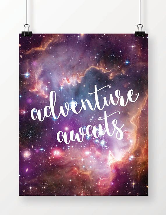 Adventure Awaits, Galaxy, Universe, Stars, Art Print, Wall Decor, Graduation Gift, Gift for Dad, Dorm Decor