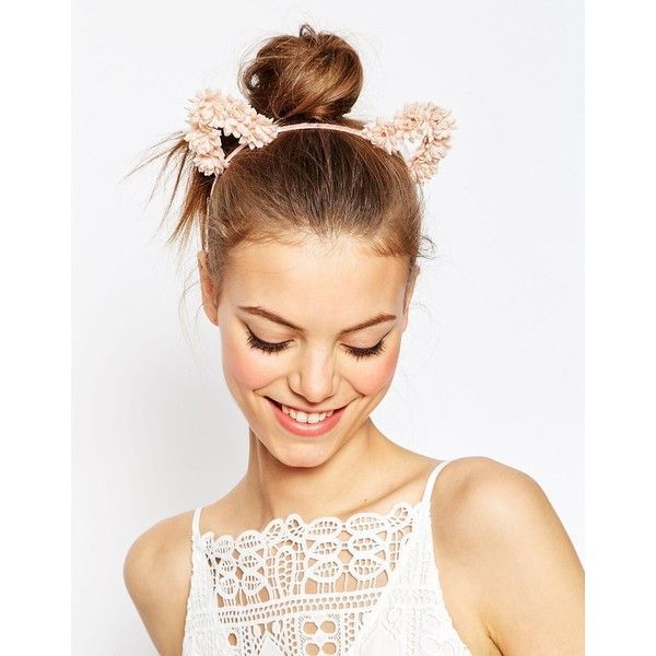 ASOS Pretty Floral Cat Ears (€13) ❤ liked on Polyvore featuring accessories, hair accessories, blush, asos headband, floral headband, embellished headbands, asos y floral cat ear headband