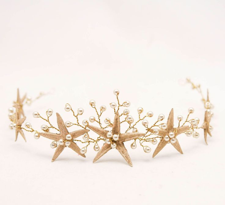 Gold Starfish Wedding Crown Beach Wedding Headpiece, Gold Beaded Mermaid Crown Star Fish Headband Golden Bridal Headpiece by BeSomethingNew on Etsy https://www.etsy.com/listing/518796040/gold-starfish-wedding-crown-beach